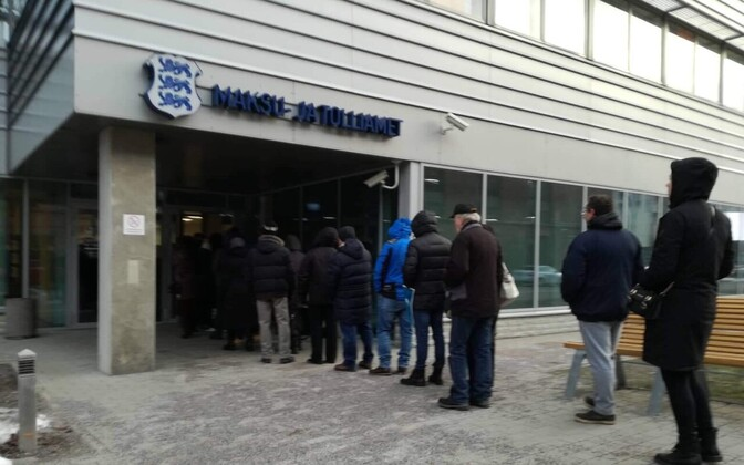 Taxpayers waiting to declare their taxes in person at an MTA office.