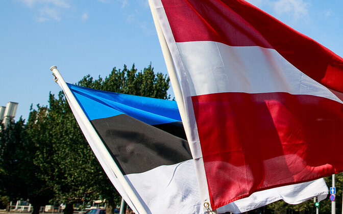 Estonian and Latvian flags.