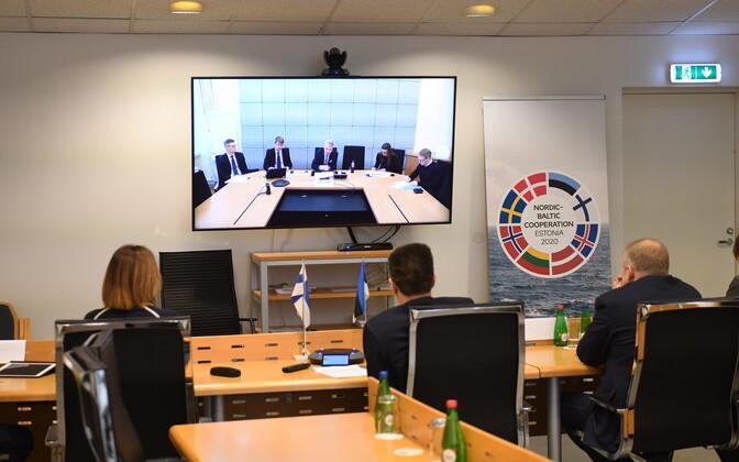 Видеоконференция между министерствами Эстонии и Финляндии.