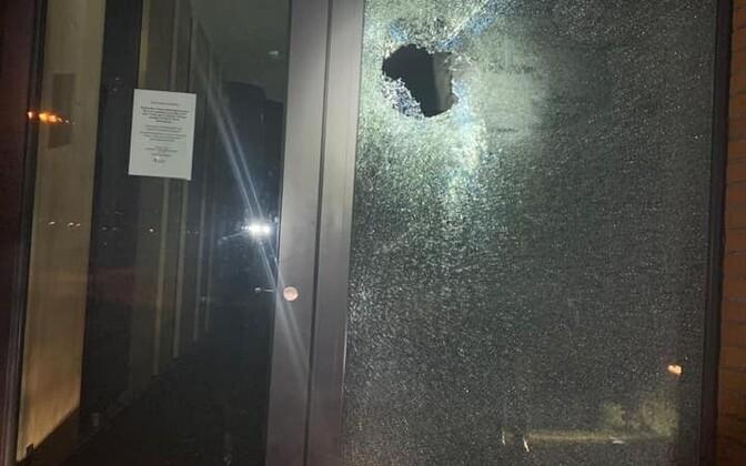 Smashed window at Kohtla-Järve High School.