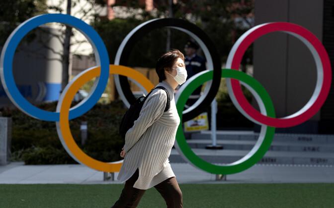 Olümpiarõngad Jaapani olümpiamuuseumi ees.