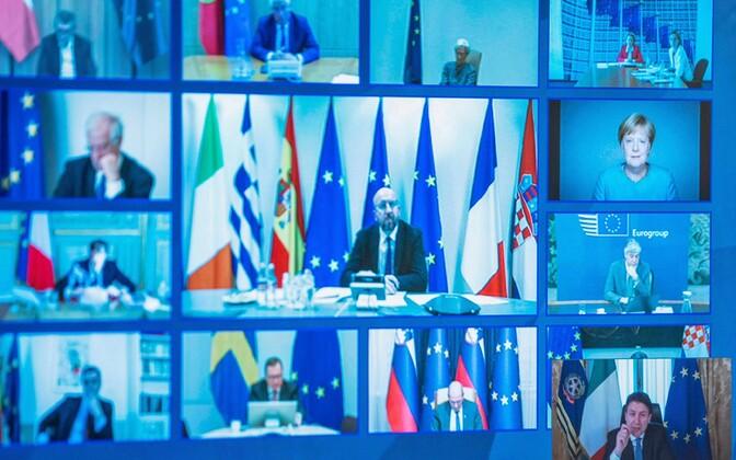 Euroopa riikide juhid videokonverentsil.