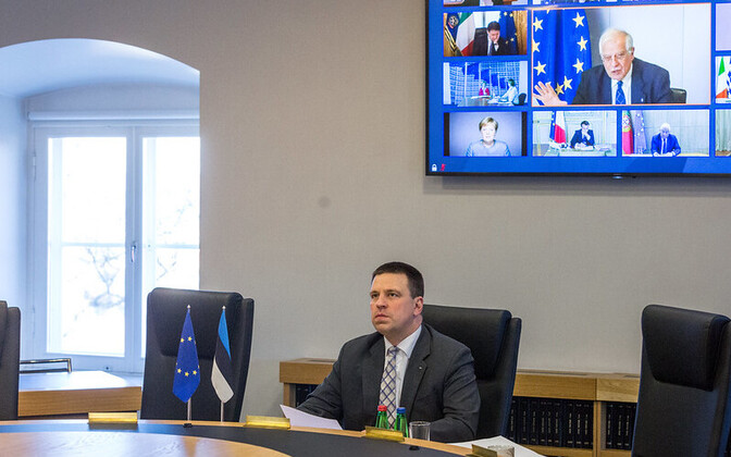 Jüri Ratas at Thursday's video conference with EU leaders.