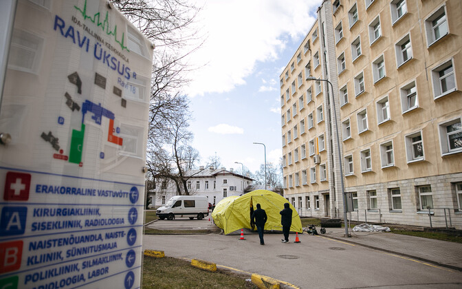 The triage tent outside East-Tallinn Central Hospital.