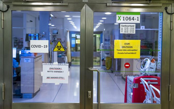 Coronavirus signs at the North Estonia Medical Center.