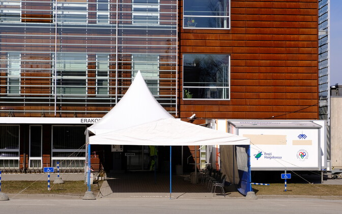 Coronavirus triage tent outside of the emergency room at Tartu University Hospital.