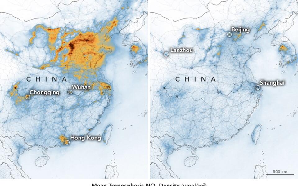 Heitkogused on pärast laialdast karantiini Hiina kohal märkimisväärselt vähenenud.