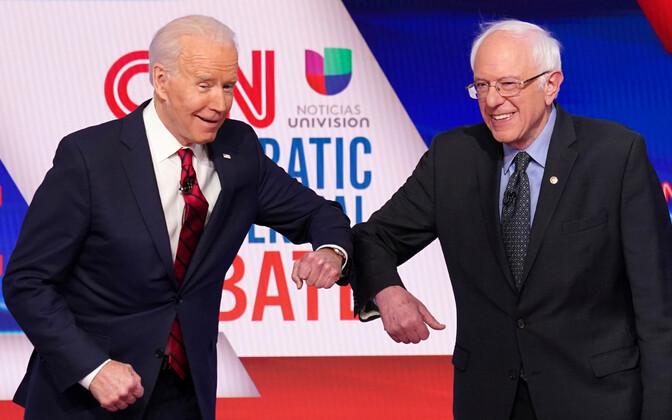 Demokraatide kandidaadid Joe Biden ja Bernie Sanders debatil.