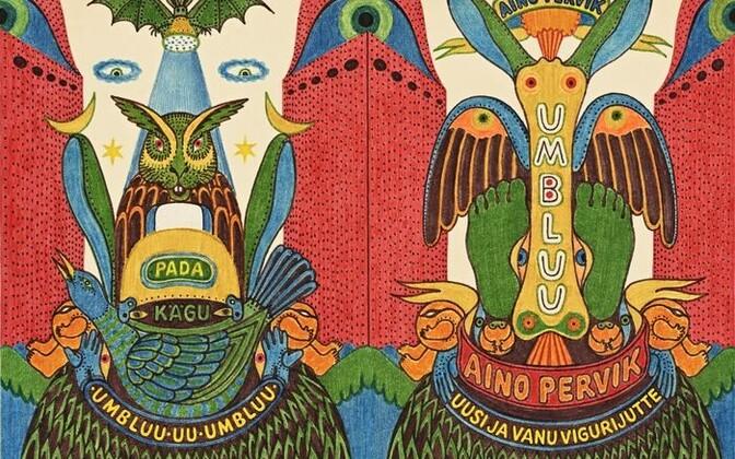 """Vello Vinn. Kaanekavand Aino Perviku raamatule """"Umbluu"""". 1980. Viltpliiats."""