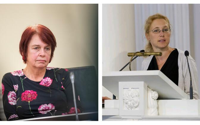 Irja Lutsar (left) and Krista Fischer of both the University of Tartu and the government's coronavirus scientific council.
