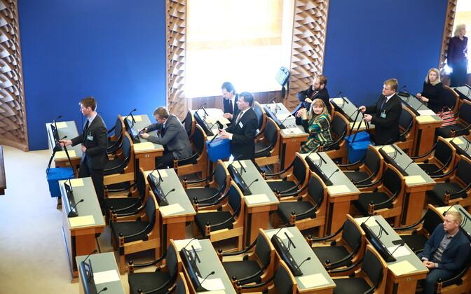 A Riigikogu sitting.