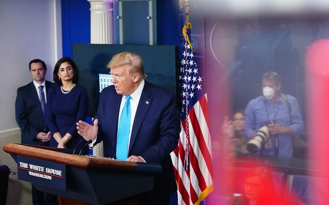 President Trump Valges Majas pressikonverentsil.