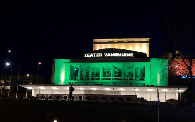 Vanemuine Theater in Tartu lit green, the colour of hope, to show respect to everyone struggling from the current situation and to remind us of more hopeful times ahead.