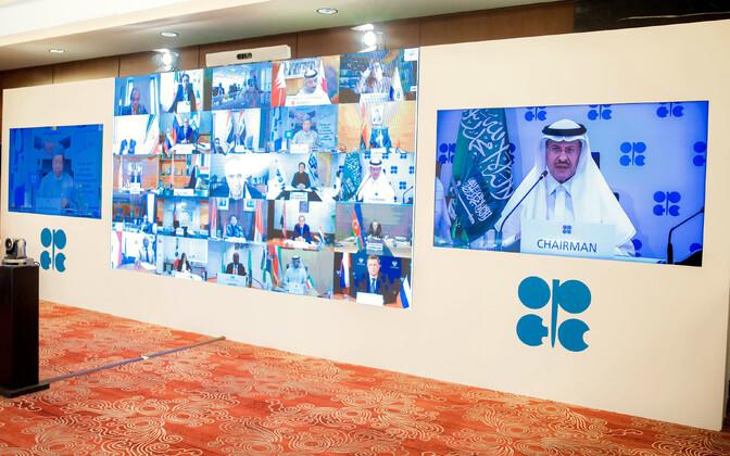 Saudide avaldatud foto OPEC+ kohtumisest.
