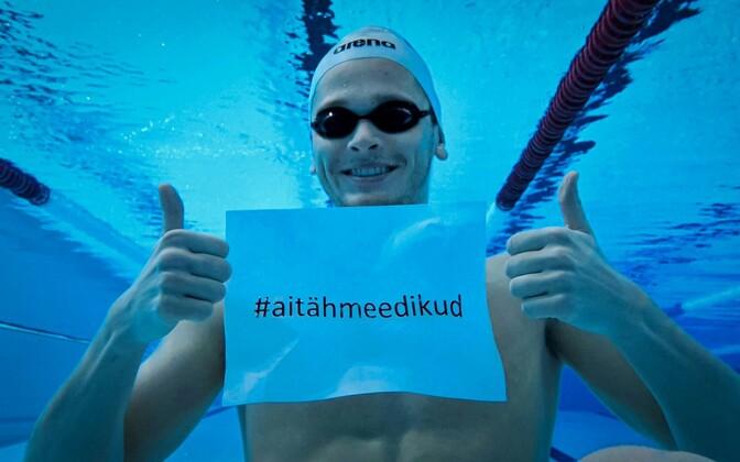 Swimmer Kregor Zirk taking part of the