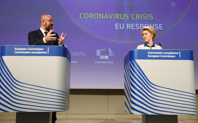 Программу по выходу стран ЕС из кризиса представили президент Европейского совета Шарль Мишель и президент Еврокомиссии  Урсула фон дер Ляйен.
