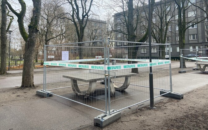 A closed off public ping-pong table in Tallinn.