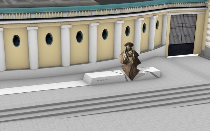 Artist's impression of the winning entry in the Georg Ots statue competition, as it will appear in front of the Estonia Theater in Tallinn.