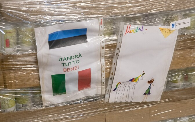 Boxes of PPE sent to Italy from Estonia.