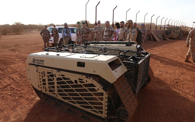 Estonian-built Milrem Robotocis THeMIS umanned ground vehicle in Mali. ESTPLA-34 worked with this piece of kit while in the West African country.