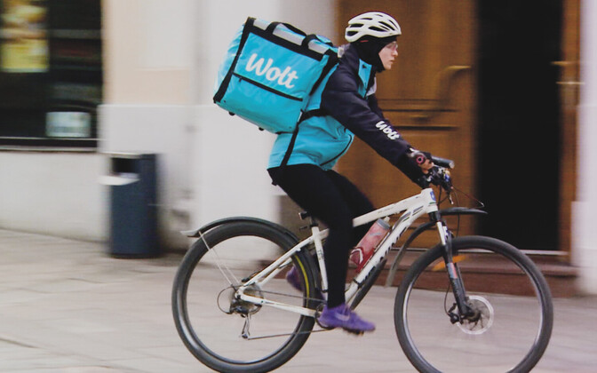 A Wolt food courier at work.