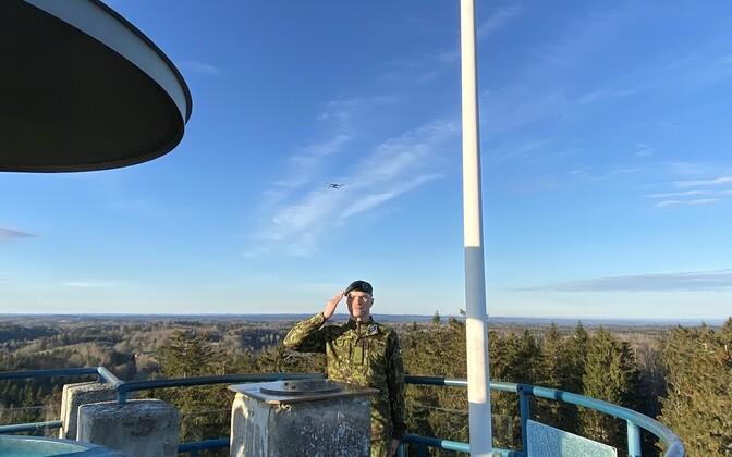 Flag-raising on Suur Munamägi, Estonia's highest point.