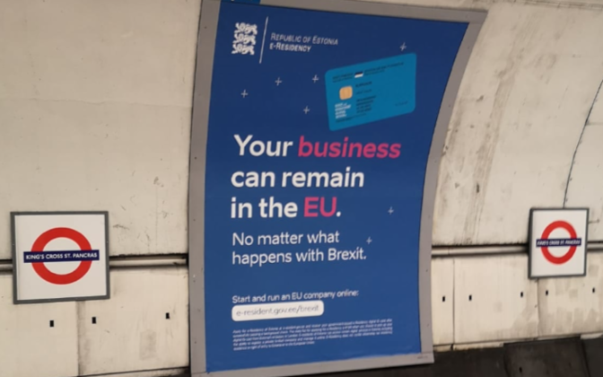 An e-Residency ad in the London Underground during Brexit.