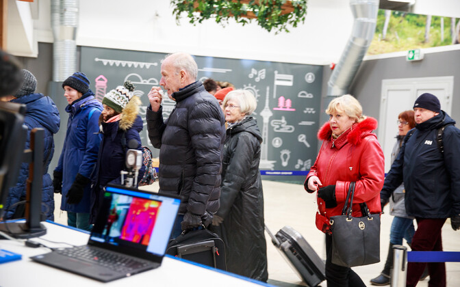 Passengers being checked by thermal cameras at the Port of Tallinn.