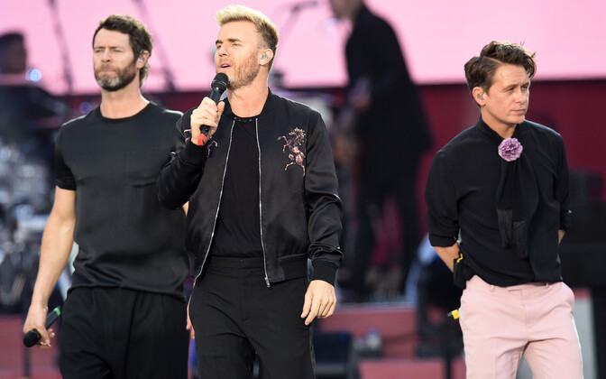 Bändi Take That liikmed Gary Barlow, Howard Donald ja Mark Owen