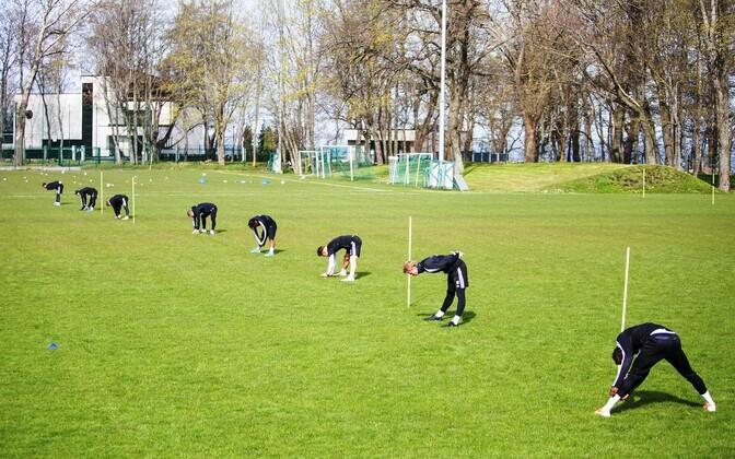 FCI Levadia esimene treening eriolukorra ajal.