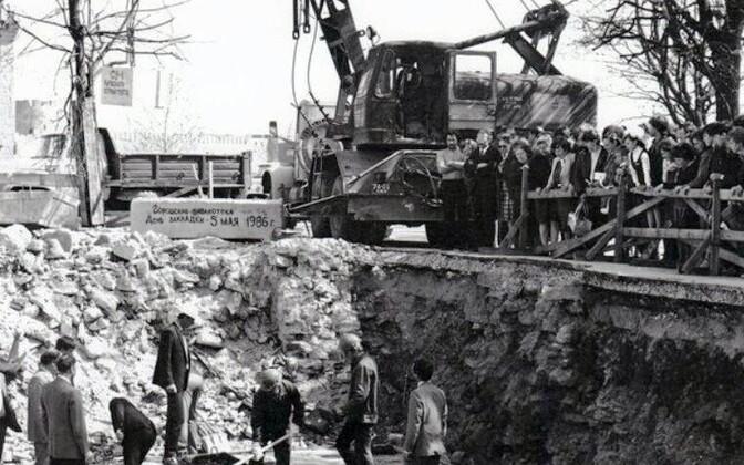 Начало строительства Нарвской центральной бибилиотеки.