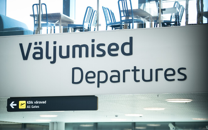 Tallinn Airport departures board.
