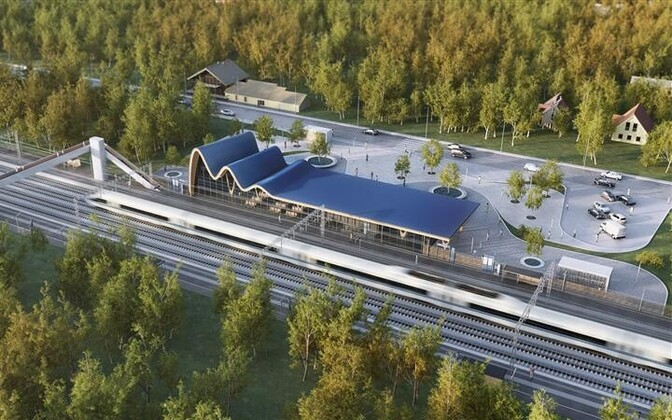 Render of a planned Rail Baltic train station in Estonia.