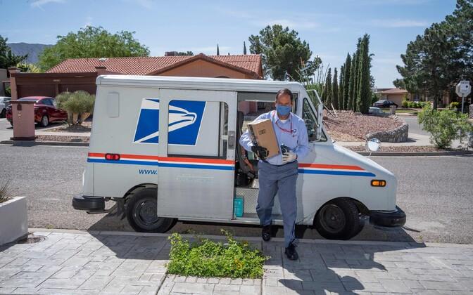 U.S. Postal Service mailman during the coronavirus pandemic.