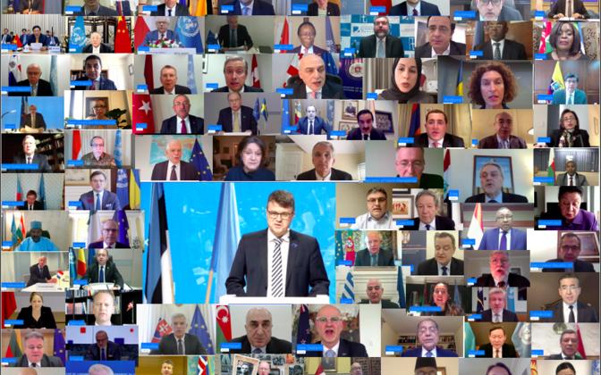 Eesti kokku kutsutud ligi 80 riigi virtuaalkohtumine ÜRO-s 18. mail