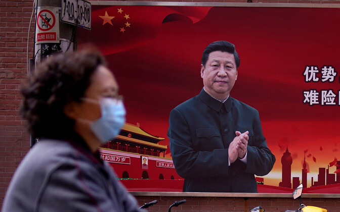Xi Jinpingiga plakat Shanghais.