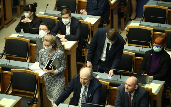 A Riigikogu sitting during the emergency situation.