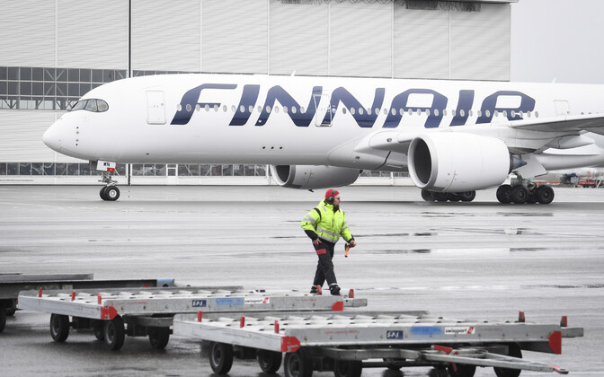 Finnairi lennuk Helsingi lennujaamas.