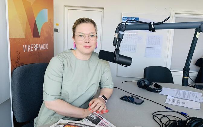 Luisa Rõivas in the Vikerraadio  studio on Thursday.