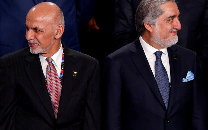 Afganistani president Ashraf Ghani (vasakul) ja tema rivaal Abdullah Abdullah 2016. aastal NATO tippkohtumisel Varssavis.