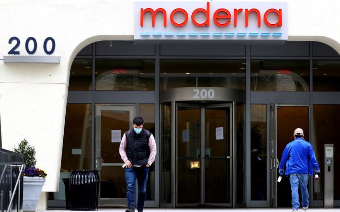 Ettevõtte Moderna peakortei sissepääs USA-s Massachusettsis.