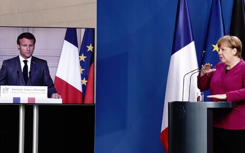 Совместная видеоконференция Ангелы Меркеьл и Эммануэля Макрона.