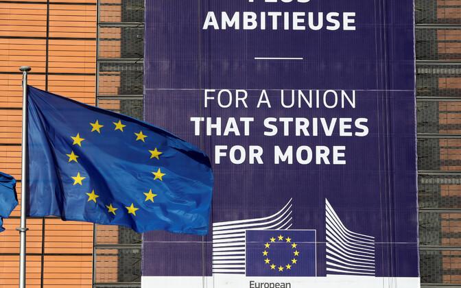 Sõnum Euroopa Komisjoni peahoonel Brüsselis.
