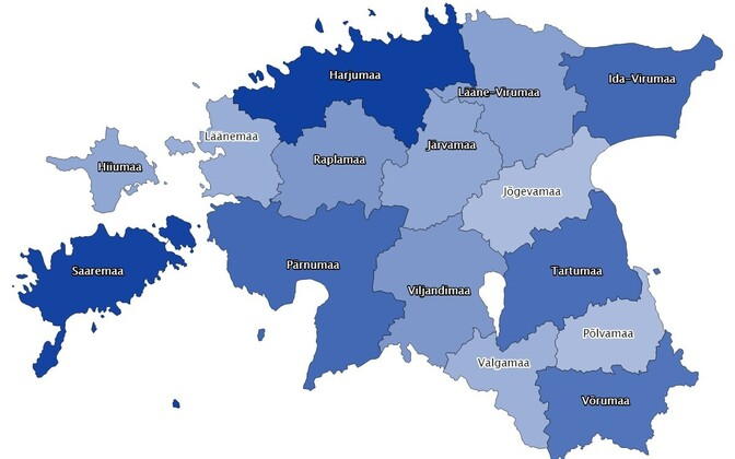 Map showing COVID-19 reported rates in Estonia's counties.