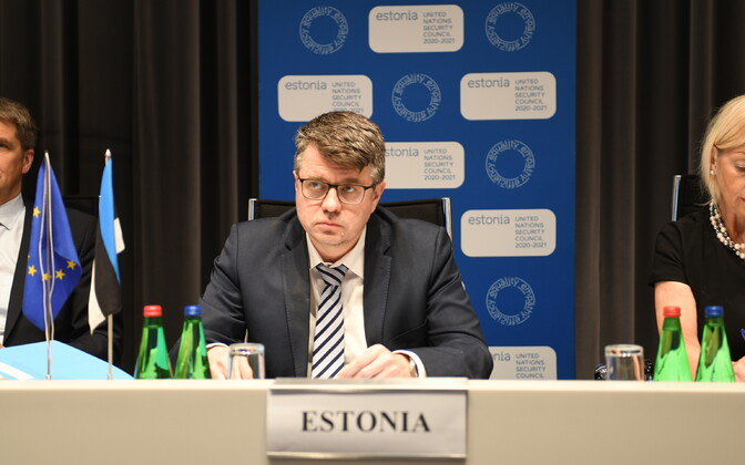 Minister of Foreign Affairs Urmas Reinsalu (Isamaa) remotely attending a meeting of the Council of the Baltic Sea States (CBSS). May 19, 2020.