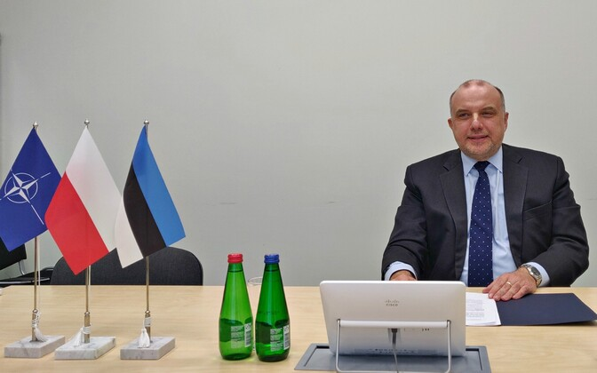 Minister of Defense Jüri Luik (Isamaa) in a video meeting with his Polish colleague. May 19, 2020.