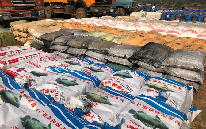 Myanmari politsei kättesaadud narkootikumide tooraine.