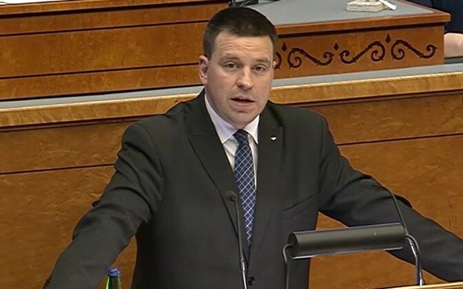 Prime Minister Jüri Ratas addressing the Riigikogu.