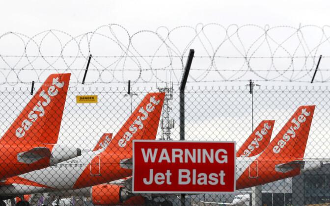 Easyjeti lennukid Londonis Lutoni lennuväljal.