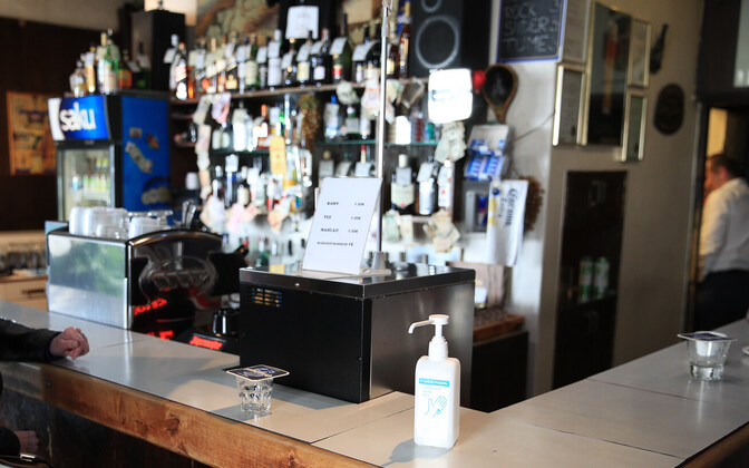 A bottle of hand sanitizer in Valli Baar in Tallinn.